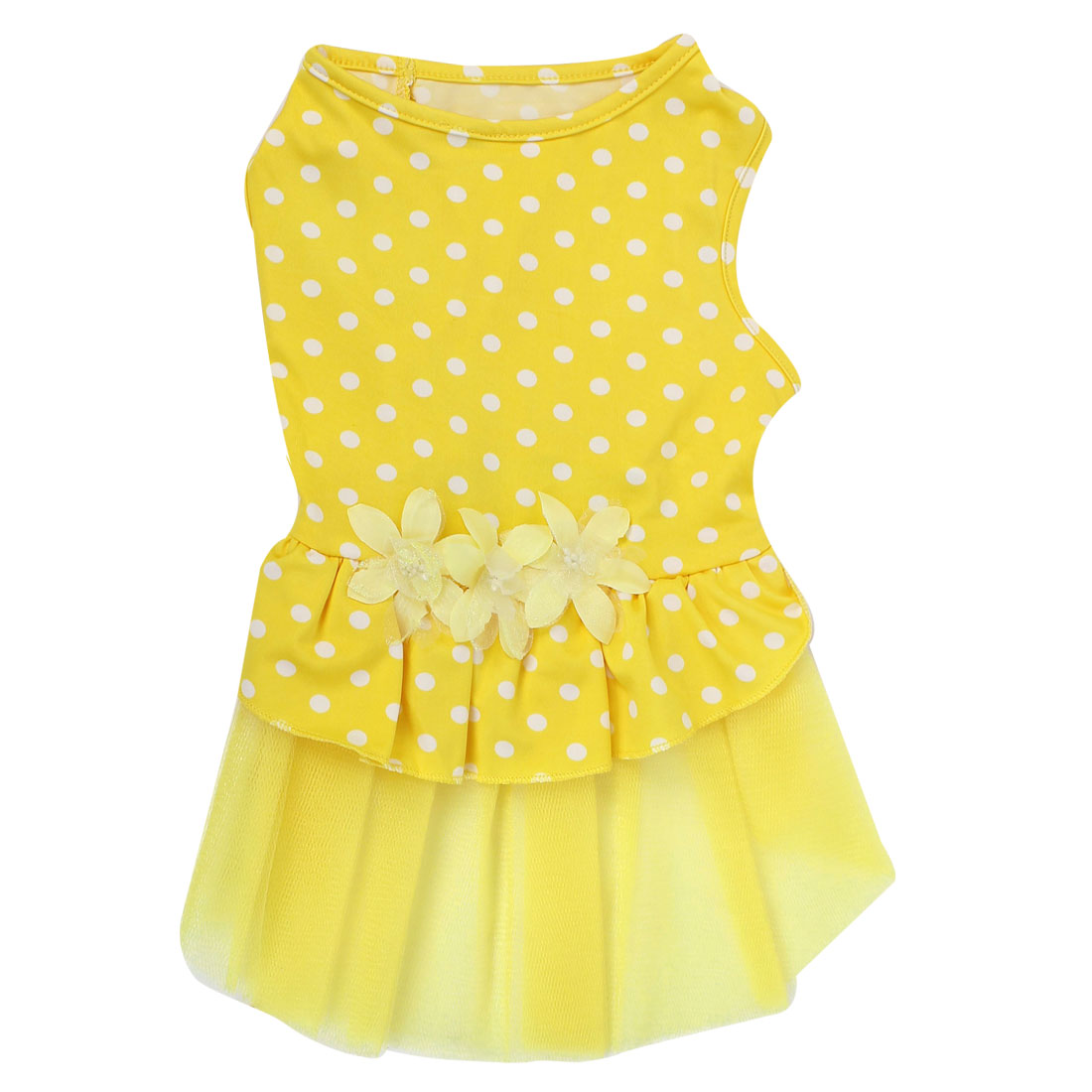 Pet Dog Doggie Dots Pattern Flowers Decor Summer Dress Skirt Yellow Size S