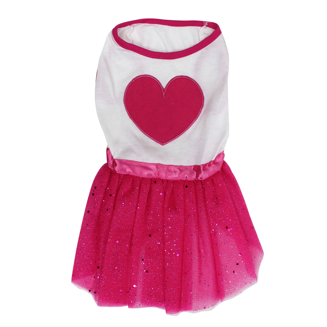 Pet Dog Doggie Heart Shaped Pattern Summer Ballet Dress Skirt White Red Size S