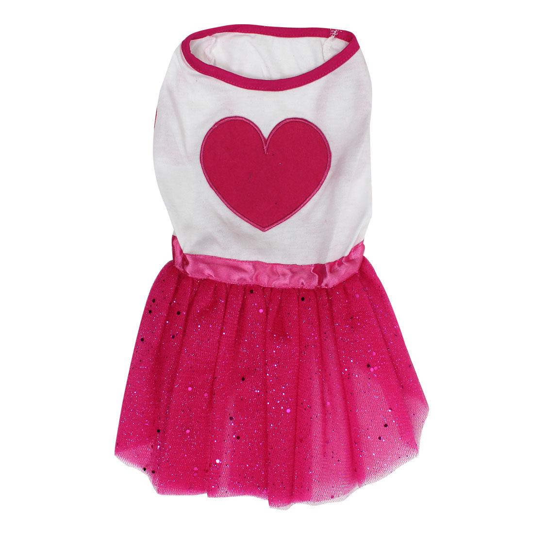 Pet Dog Doggie Heart Shaped Pattern Summer Ballet Dress Skirt White Red Size M