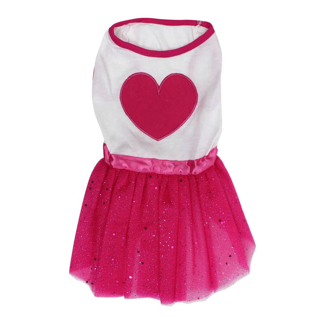 Pet Dog Doggie Heart Shaped Pattern Summer Ballet Dress Skirt White Red Size L