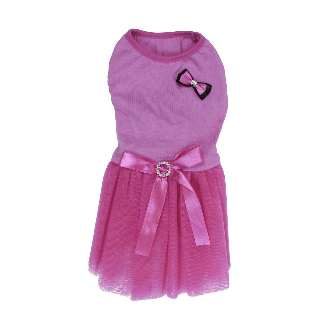 Pet Dog Doggie Bowknot Decor Summer Ballet Meshy Dress Skirt Pink Size L