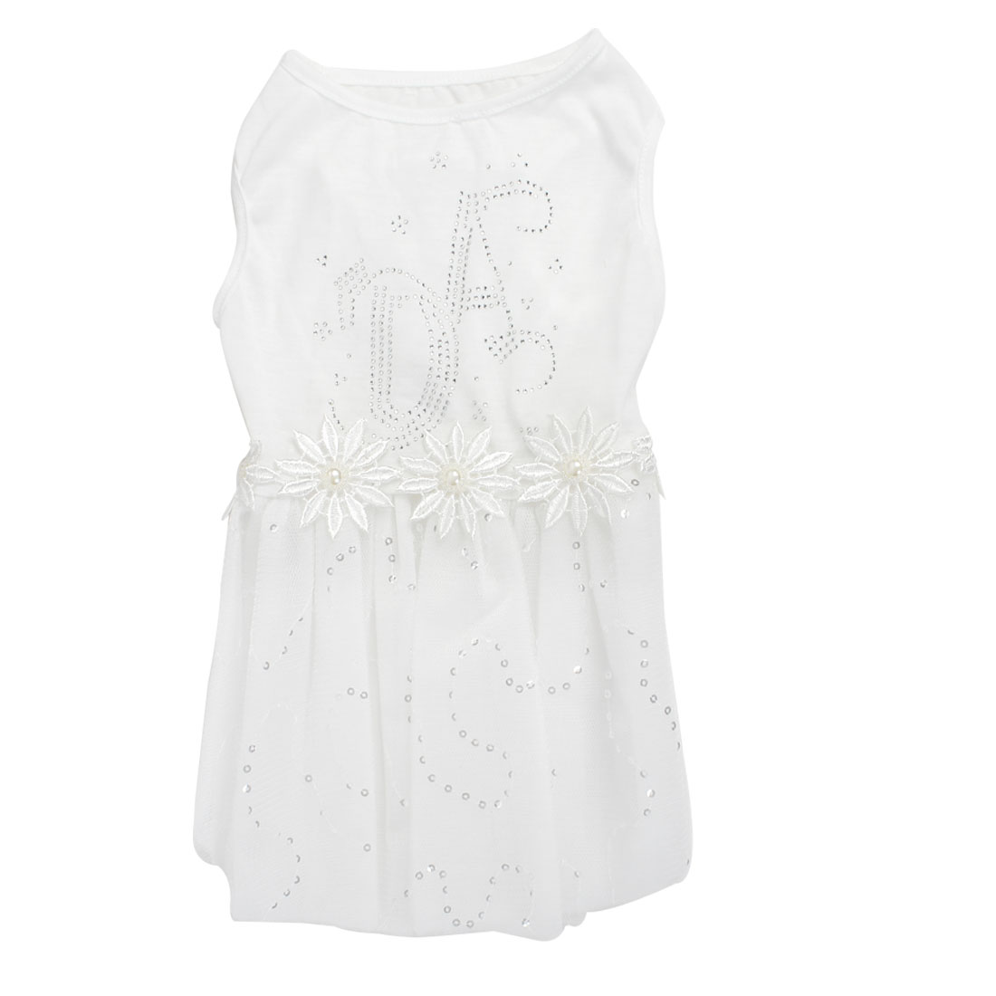Pet Dog Doggie Flowers Decor Sleeveless Wedding Dress Skirt White Size M