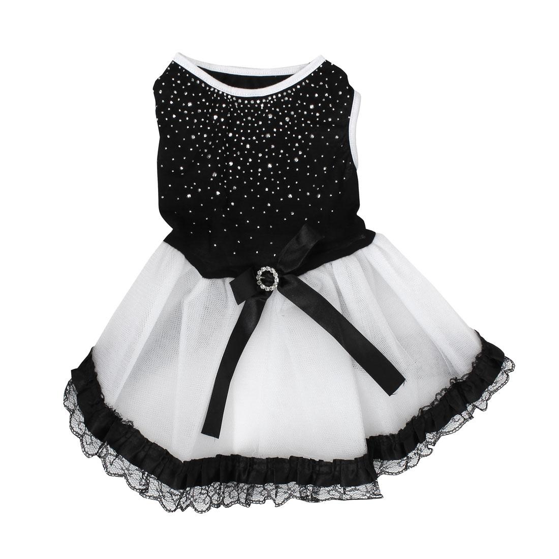 Pet Dog Doggie Rhinestone Inlaid Bowknot Decor Ballet Dress Skirt Black Size XS