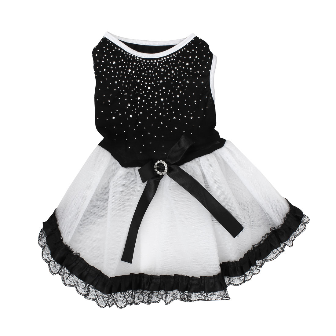 Pet Dog Doggie Rhinestone Inlaid Bowknot Decor Ballet Dress Skirt Black Size M