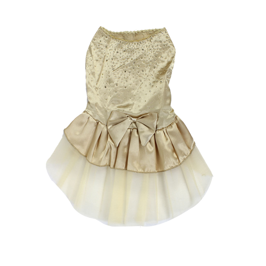 Pet Puppy Shiny Point Princess Bowknot Decor Party Dress Skirt Gold Tone Size S