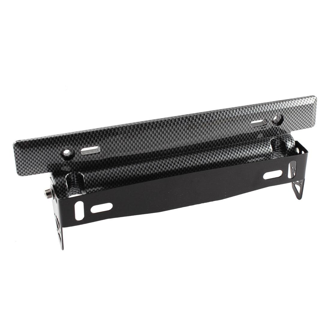Black Carbon Fiber Printed License Plate Support Bracket Holder for Car Van
