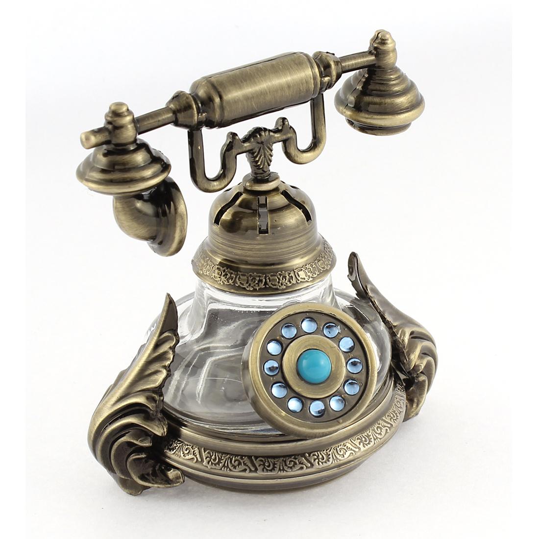 Bronze Tone Telephone Shape Perfume Block Base Decoration Air Freshener for Car