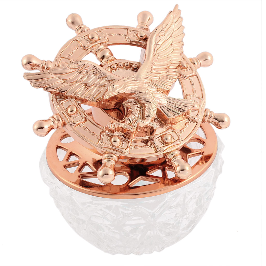 Clear Base Copper Tone Helmsman Shape Perfume Block Air Freshener for Car