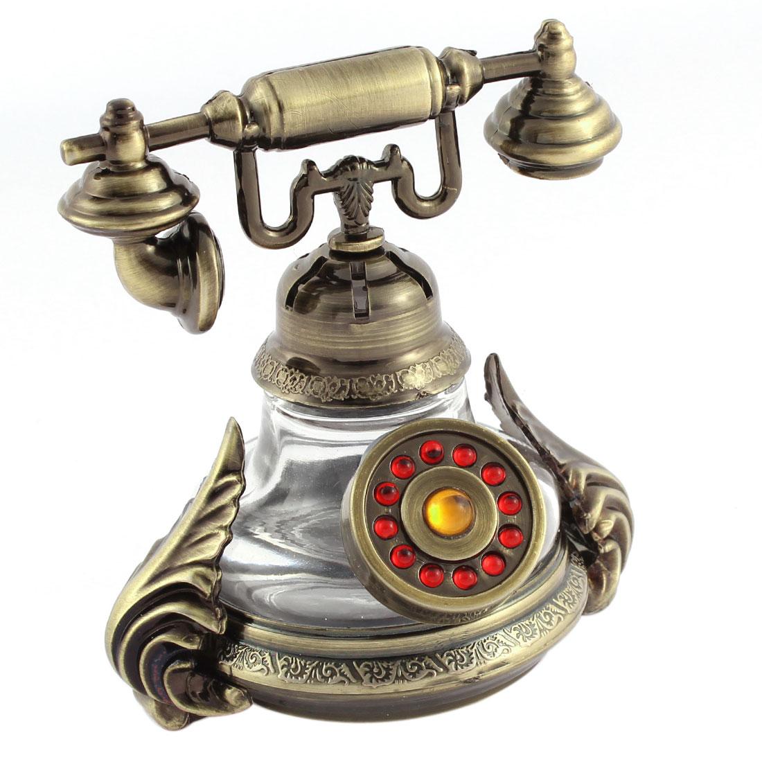 Bronze Tone Telephone Shape Perfume Block Base Decoration Air Freshener for Auto