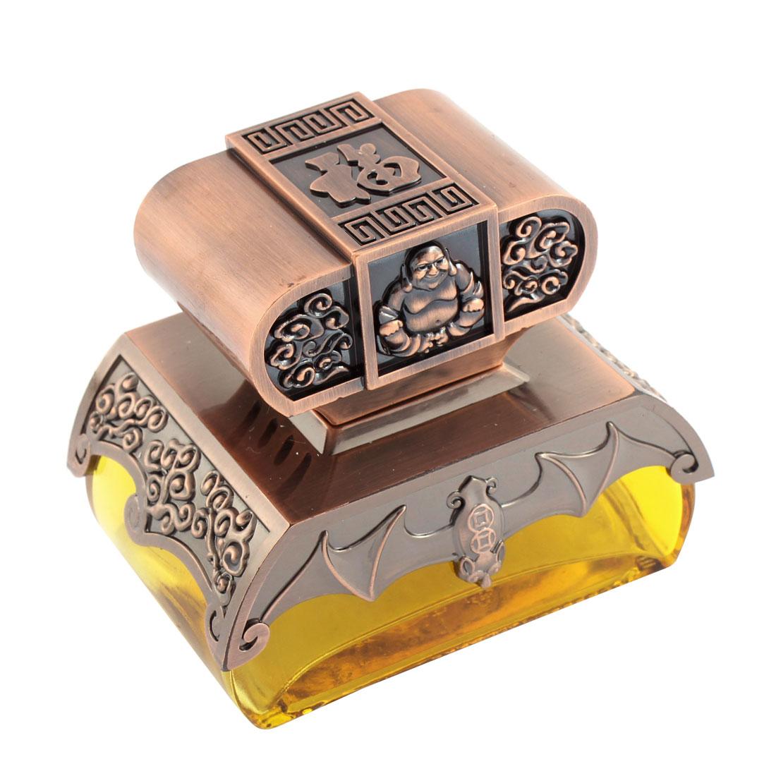 Car Freshener Buddha Shaped Perfume Block Base Decoration Bronze Tone