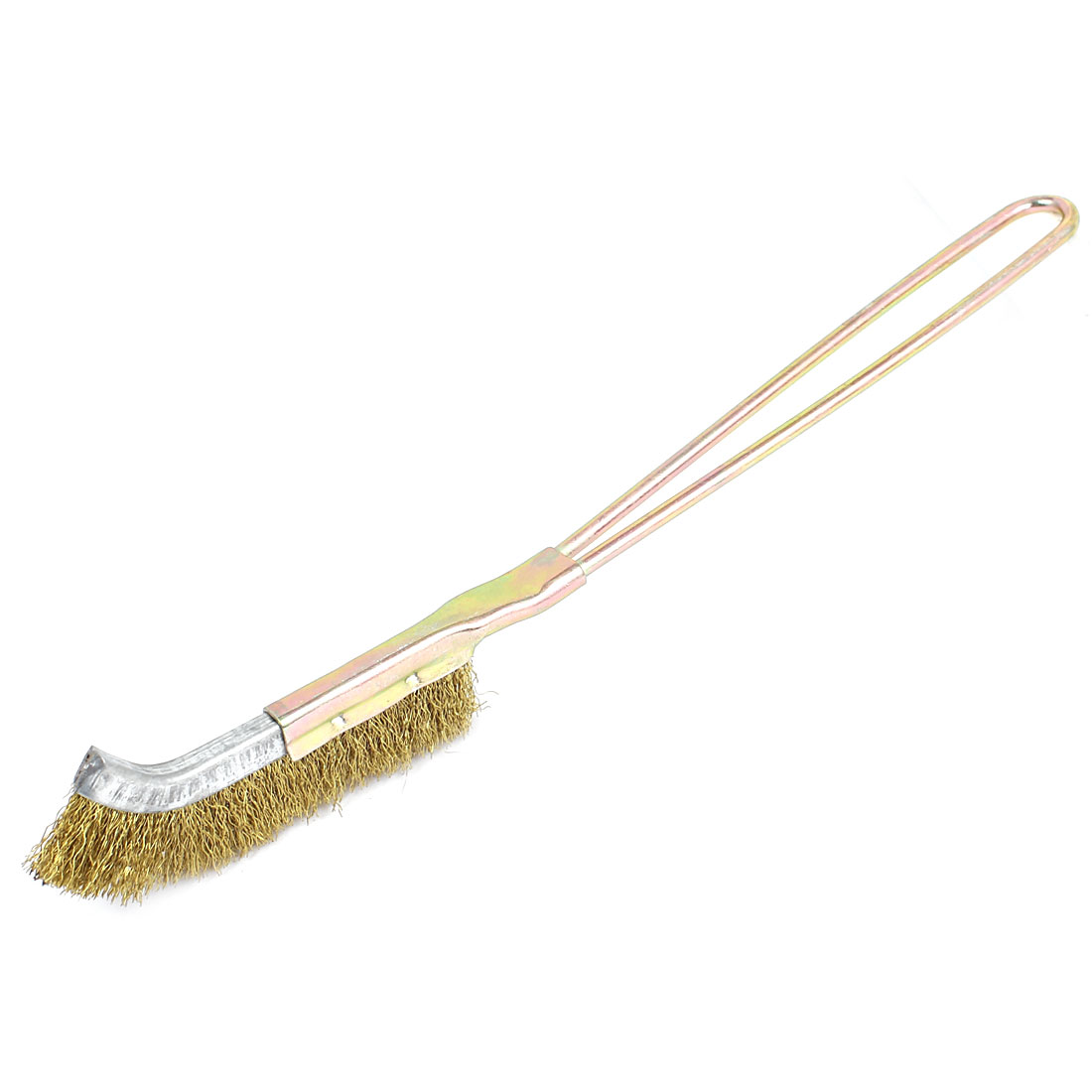 22cm Long Handheld Metal Handle Bent Head Brass Wire Cleaning Brush