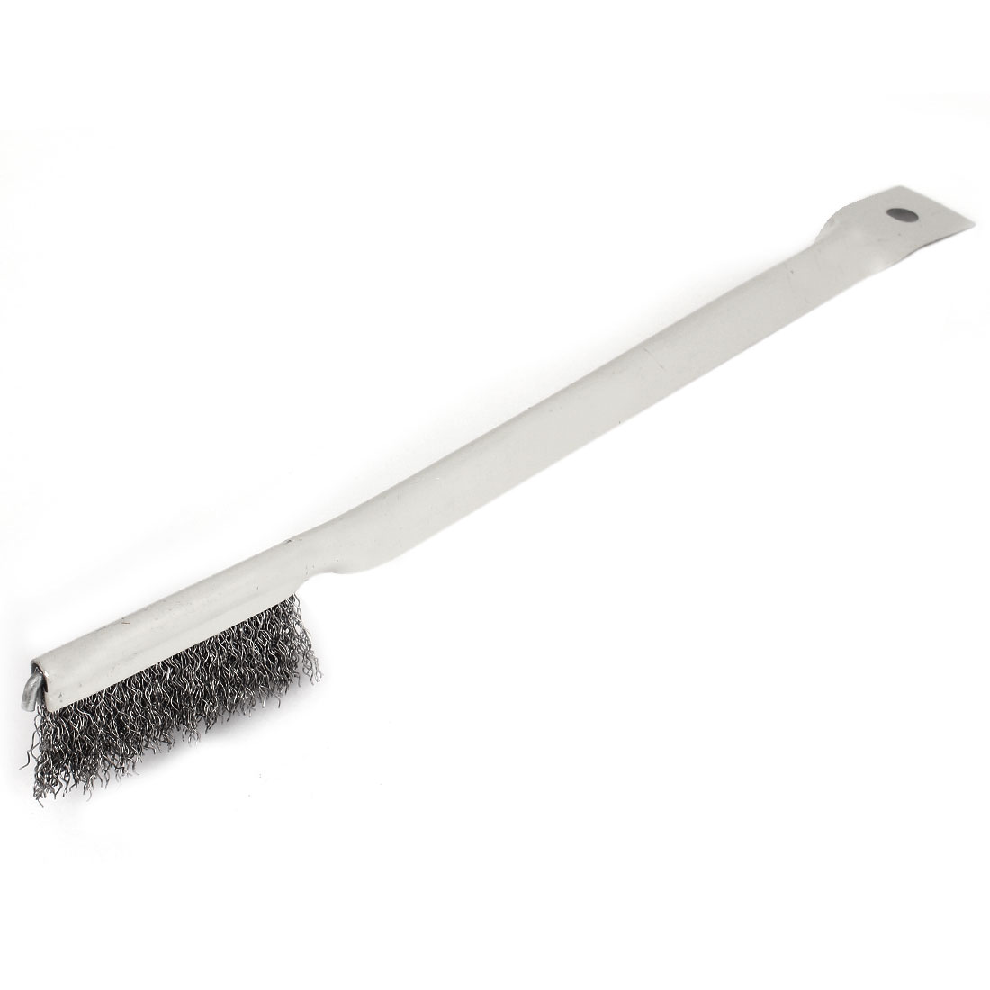 26cm Length Handy Tool Metal Handle Steel Wire Cleaning Brush Silver Tone