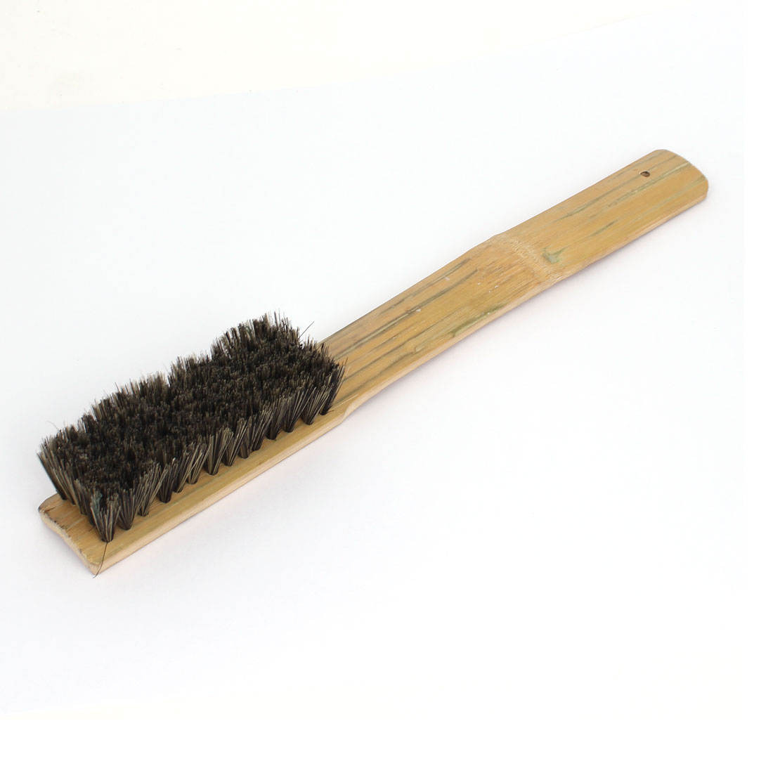 285mm Long Bamboo Handle Handheld Bristle Brush Cleaning Tool Gray