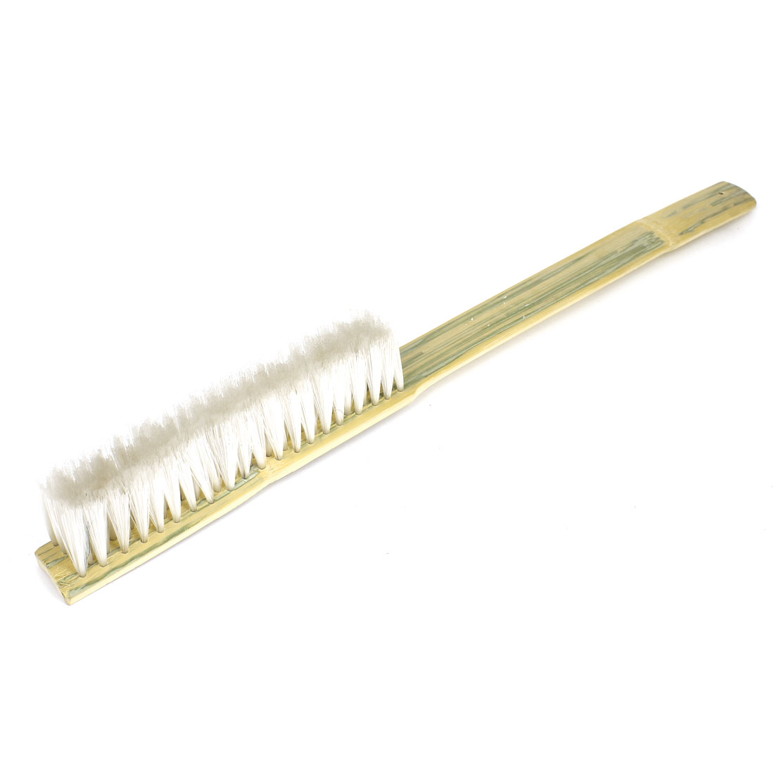 60cm Long Bamboo Handle Handheld 7 Rows Nylon Brush Cleaning Tool White