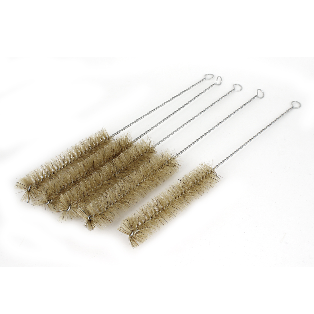 30mm Diameter Twist Handle Bristle Test Tube Cleaning Brush Brown 5 Pcs