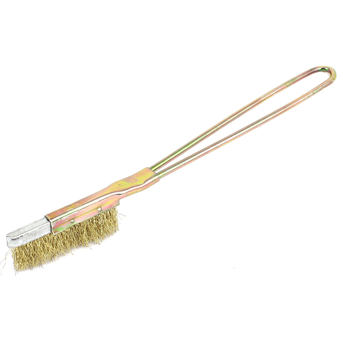 21cm Length Handy Tool Metal Handle Brass Wire Cleaning Brush Gold Tone