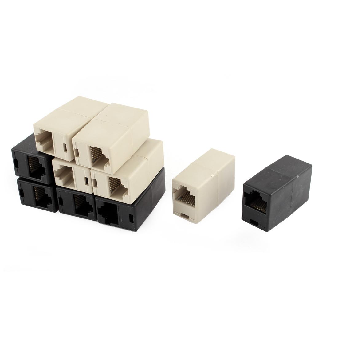 Cat5 RJ45 Lan Network Ethernet Cable Joiner Adapter Coupler Black Khaki 10 PCS
