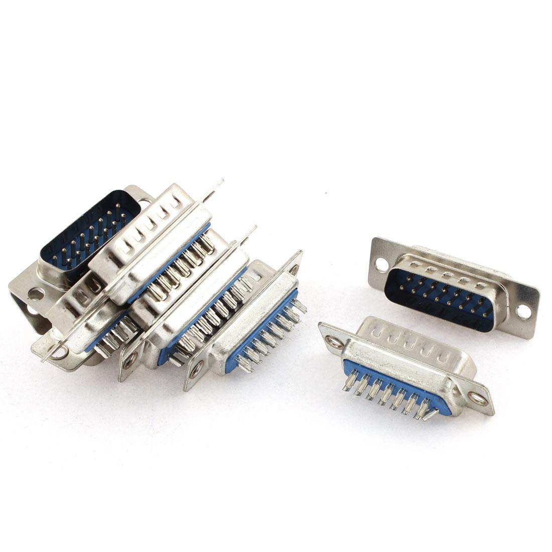 DB15 8+7 15-Pin 2 Row Male D-Sub Computer VGA Cable Connector Adapter 10 Pcs