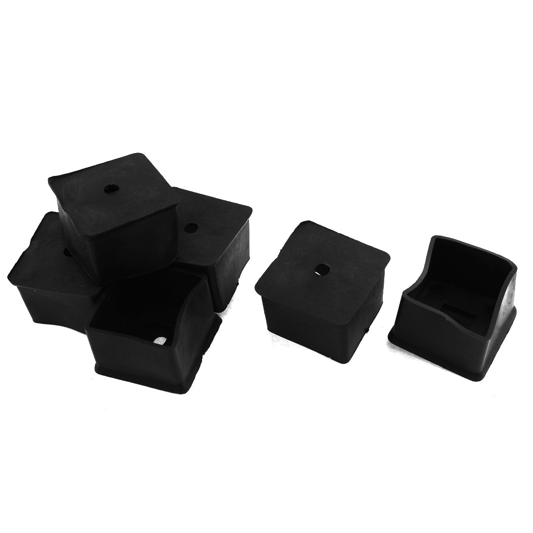 40mm x 40mm Square Rubber Chair Table Leg End Caps Furniture Foot Covers 6 Pcs
