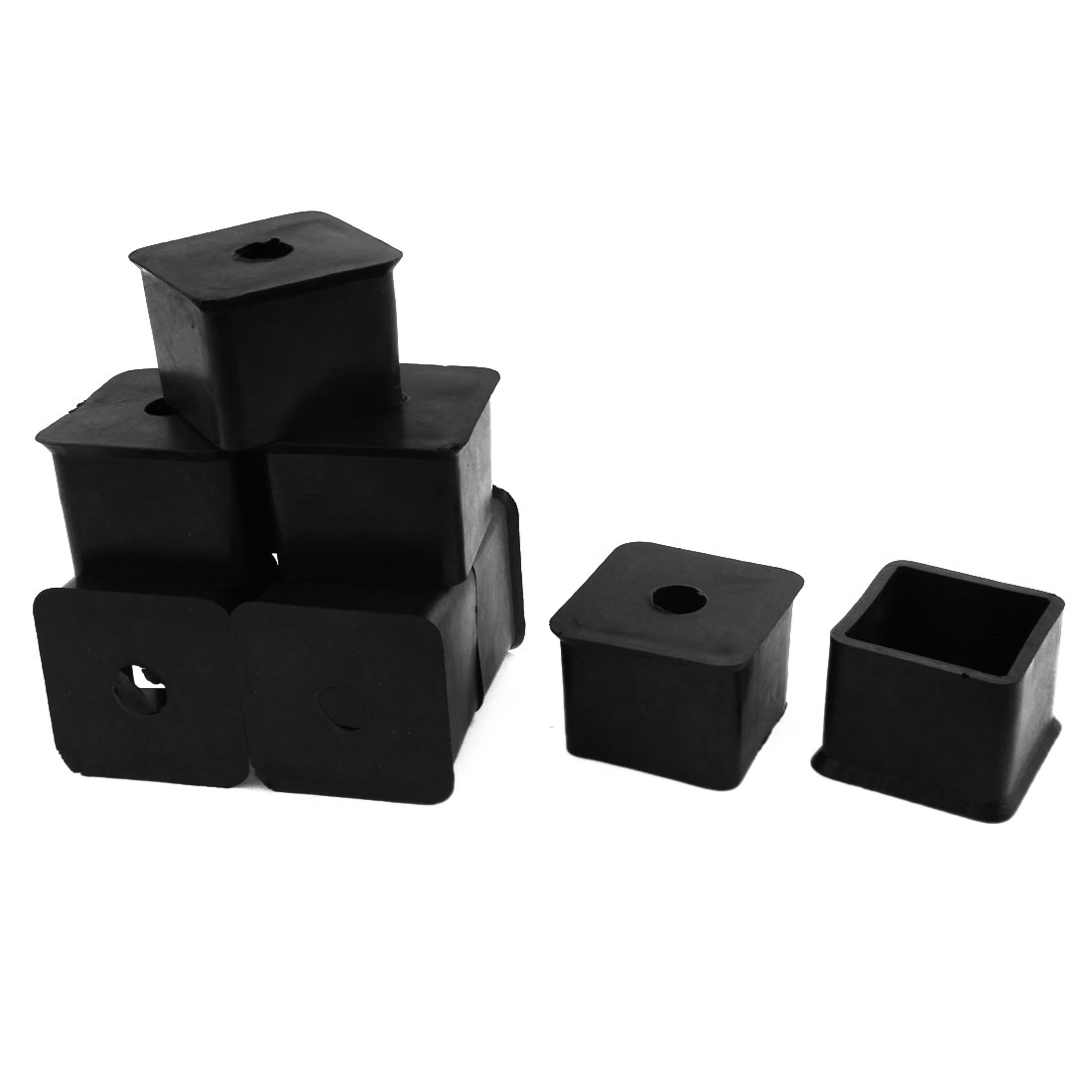 35mm x 35mm Square Rubber Chair Table Leg End Caps Furniture Foot Covers 9 Pcs