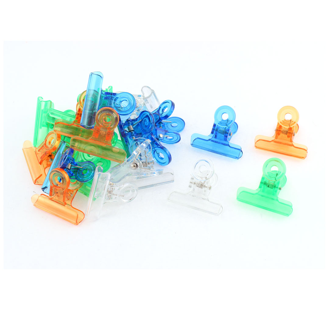 Home Office Assorted Color Plastic Documents Paper Ticket Binder Clips Clamp 24pcs