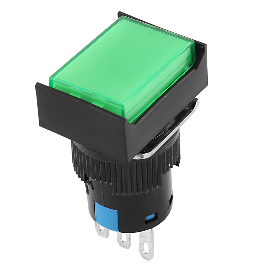 AC 250V 5A/16A SPDT 16mm Thread Dia Green Cap Momentary Push Button Switch