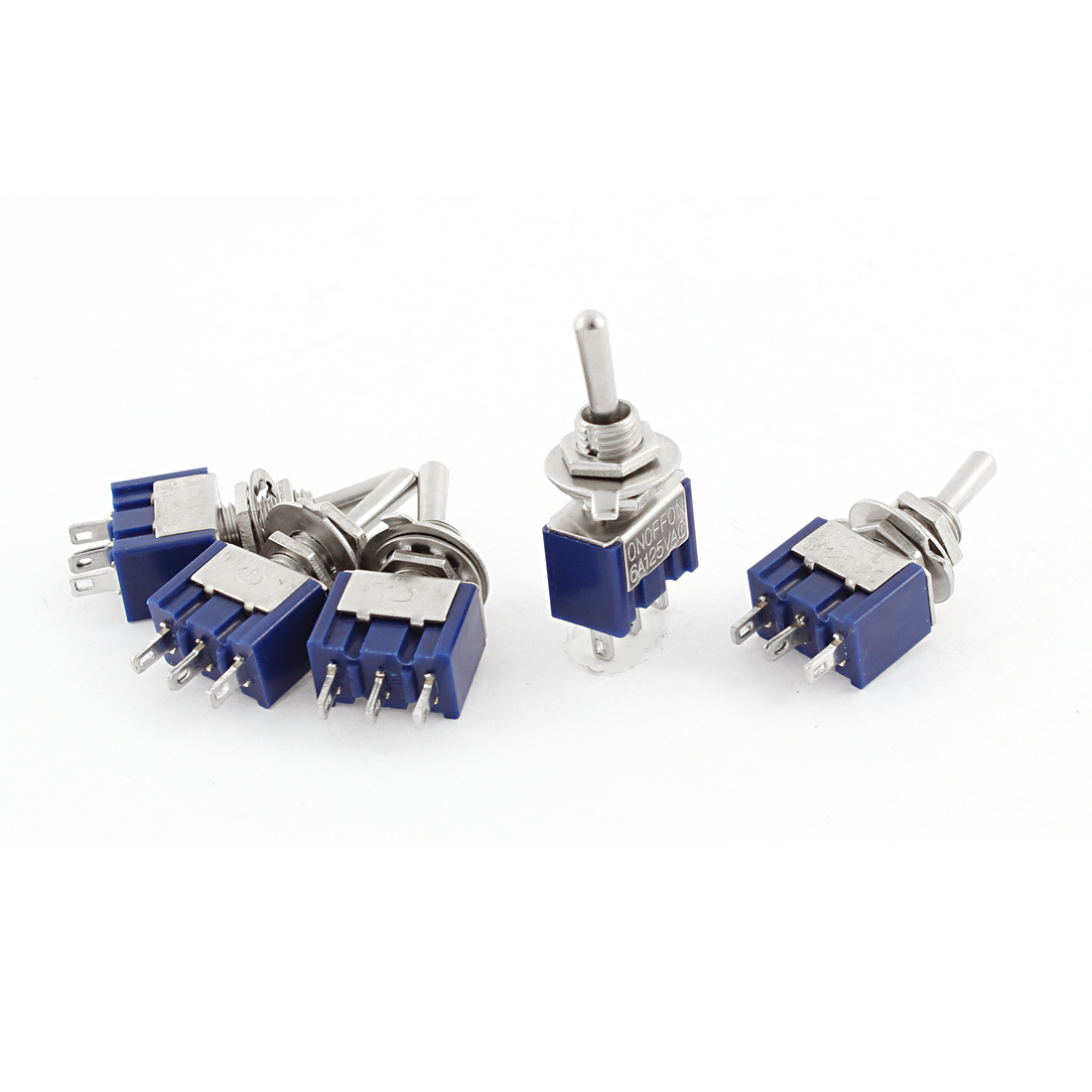 AC125V 6A SPDT 3 Terminals ON-OFF-ON 3 Positions Toggle Switch 5PCS