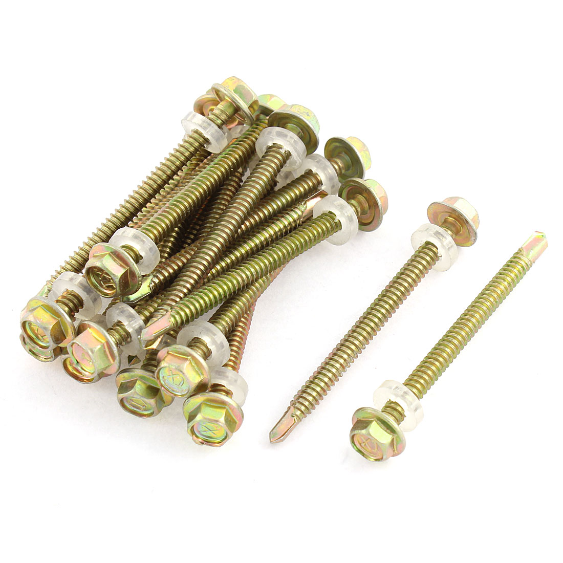 "17pcs 5/16"" Hex Head 4.5mm Thread 2.5"" Long Self Drilling Tapping Screw"