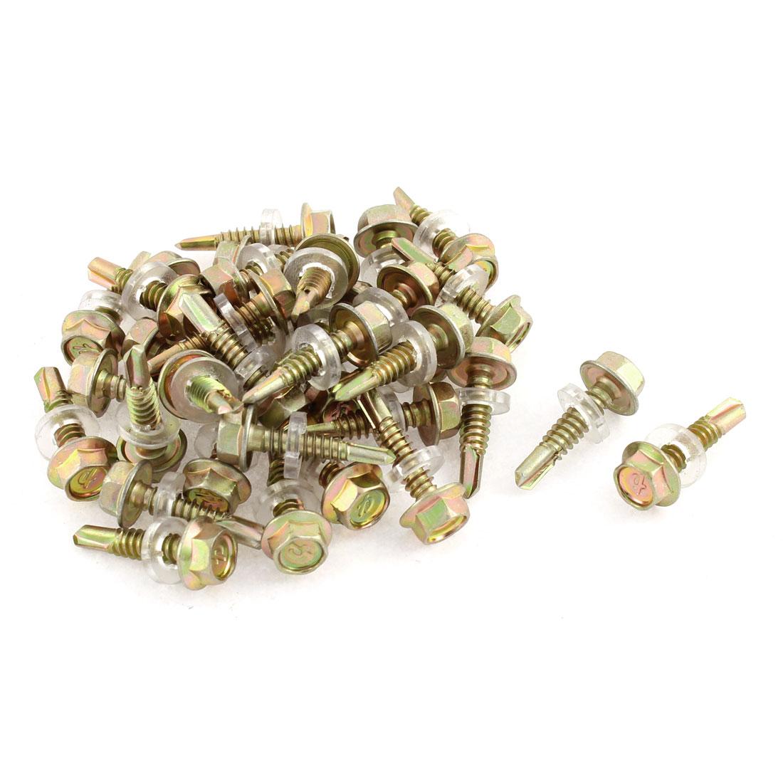 """35pcs 5/16"""" Hex Head 5mmx12mm Thread Self Drilling Tapping Screw Bronze Tone"""