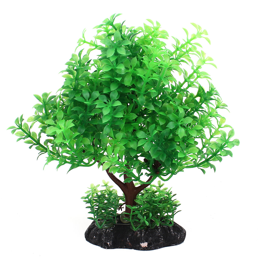"7"" 18cm Height Green Plastic Manmade Aquarium Plant Underwater Grass Decor w Ceramic Base for Fishbowl"