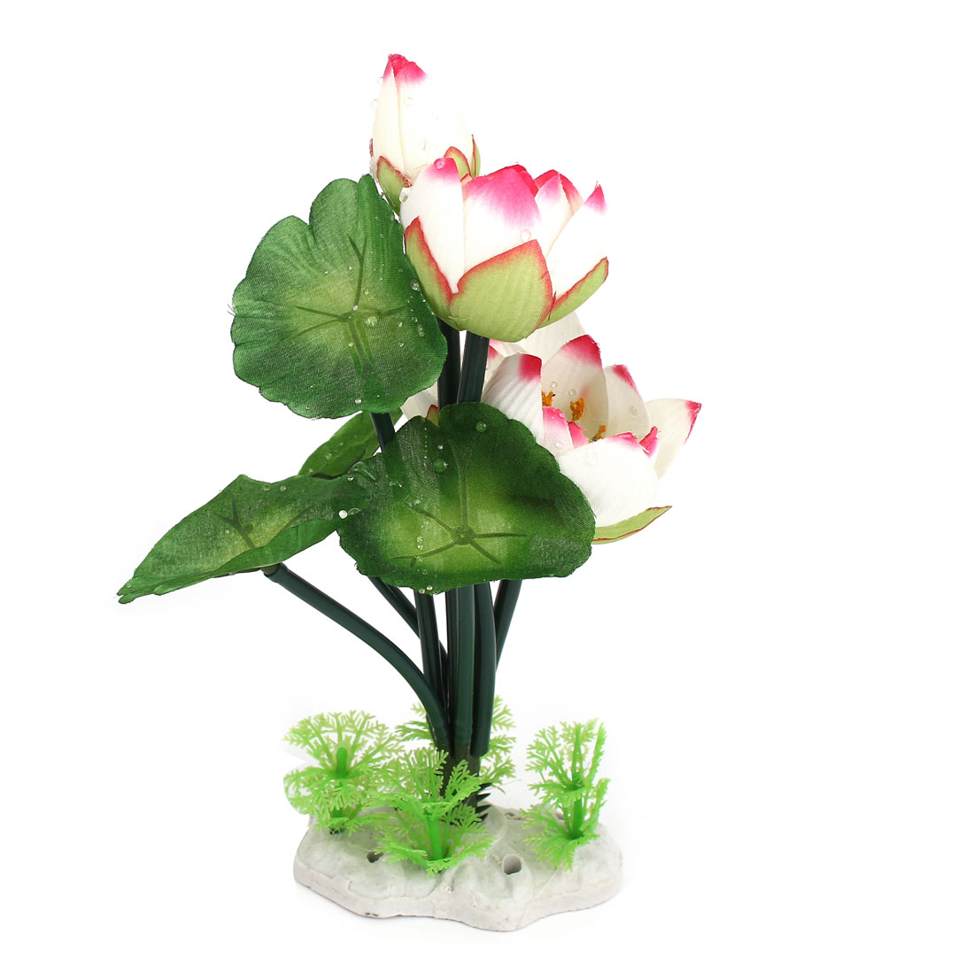 21cm Height Green White Pink Plastic Emulational Aquarium Lotus Flower Plant Decor for Fish Tank Fishbowl
