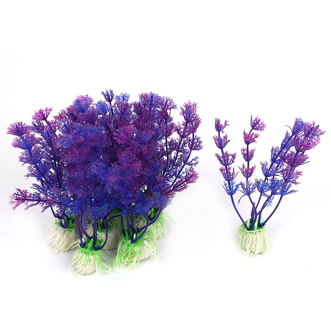 Fishbowl Landscaping Purple Plastic Emulational Aquarium Plant Aquatic Grass Decor w Ceramic Base 10pcs