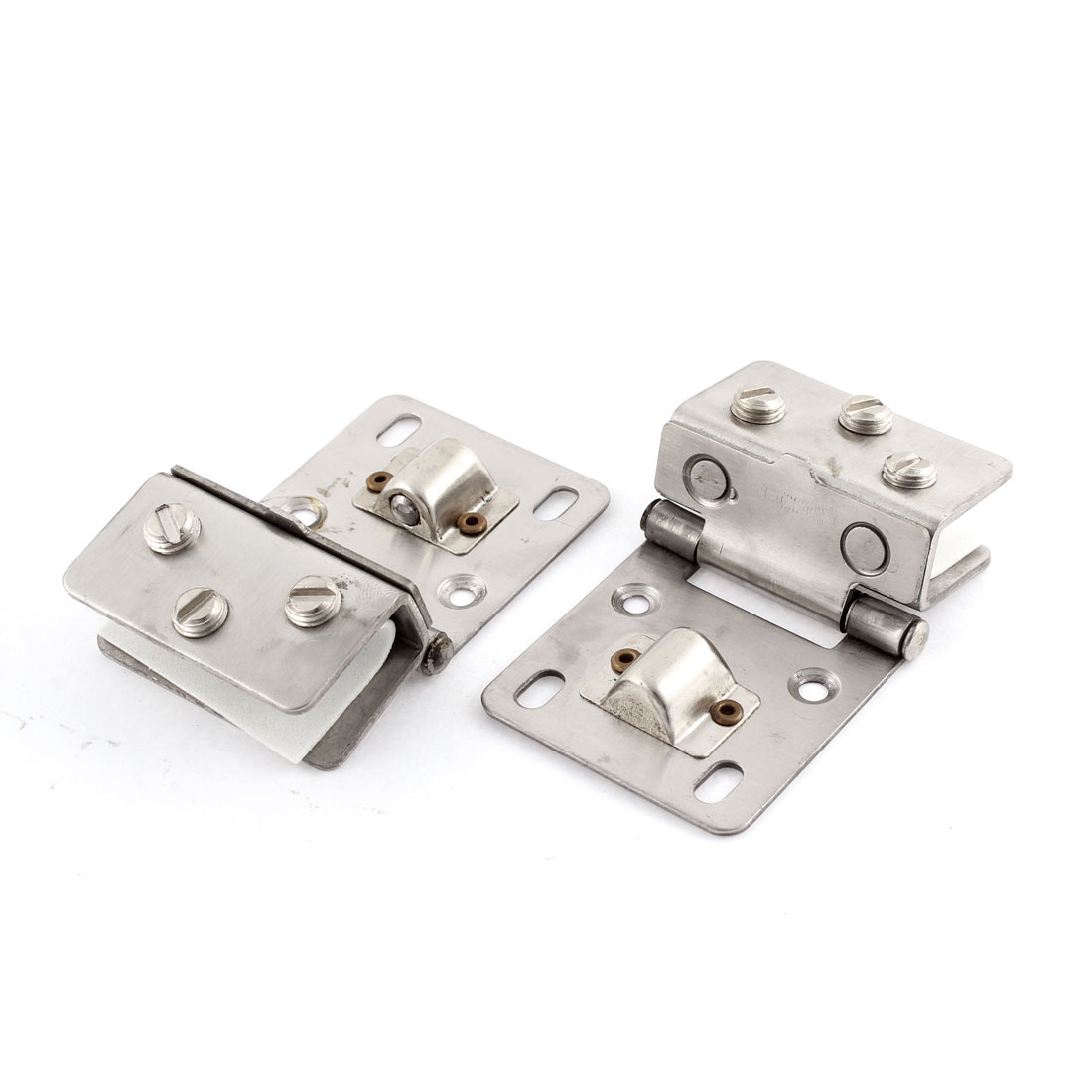2 Pcs Silver Tone Fitting Clip Door Hinge Rectangular Glass Clamp