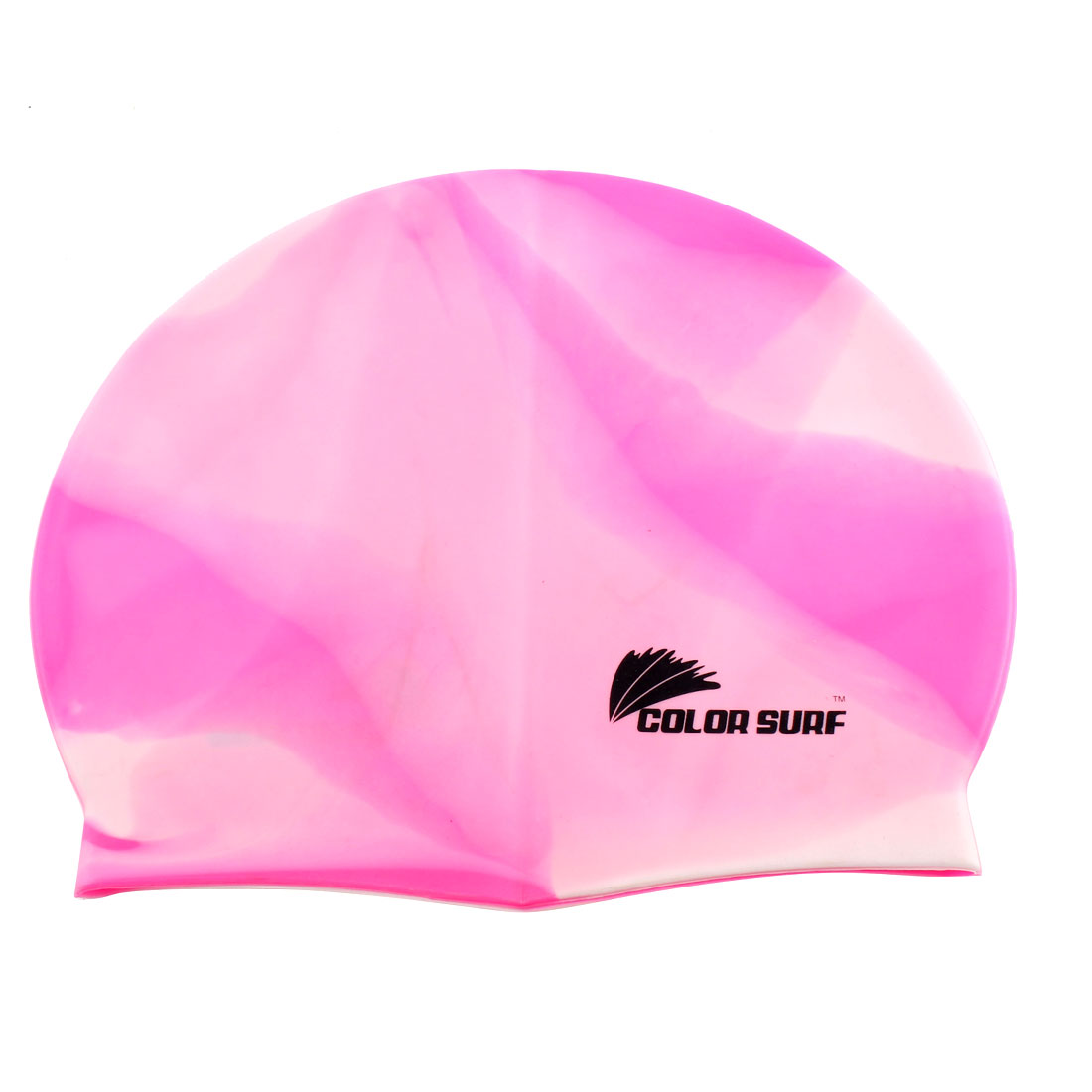Sporty Pink White Silicone Flexible Swimmer Swim Cap Swimming Hat Swimwear Sports