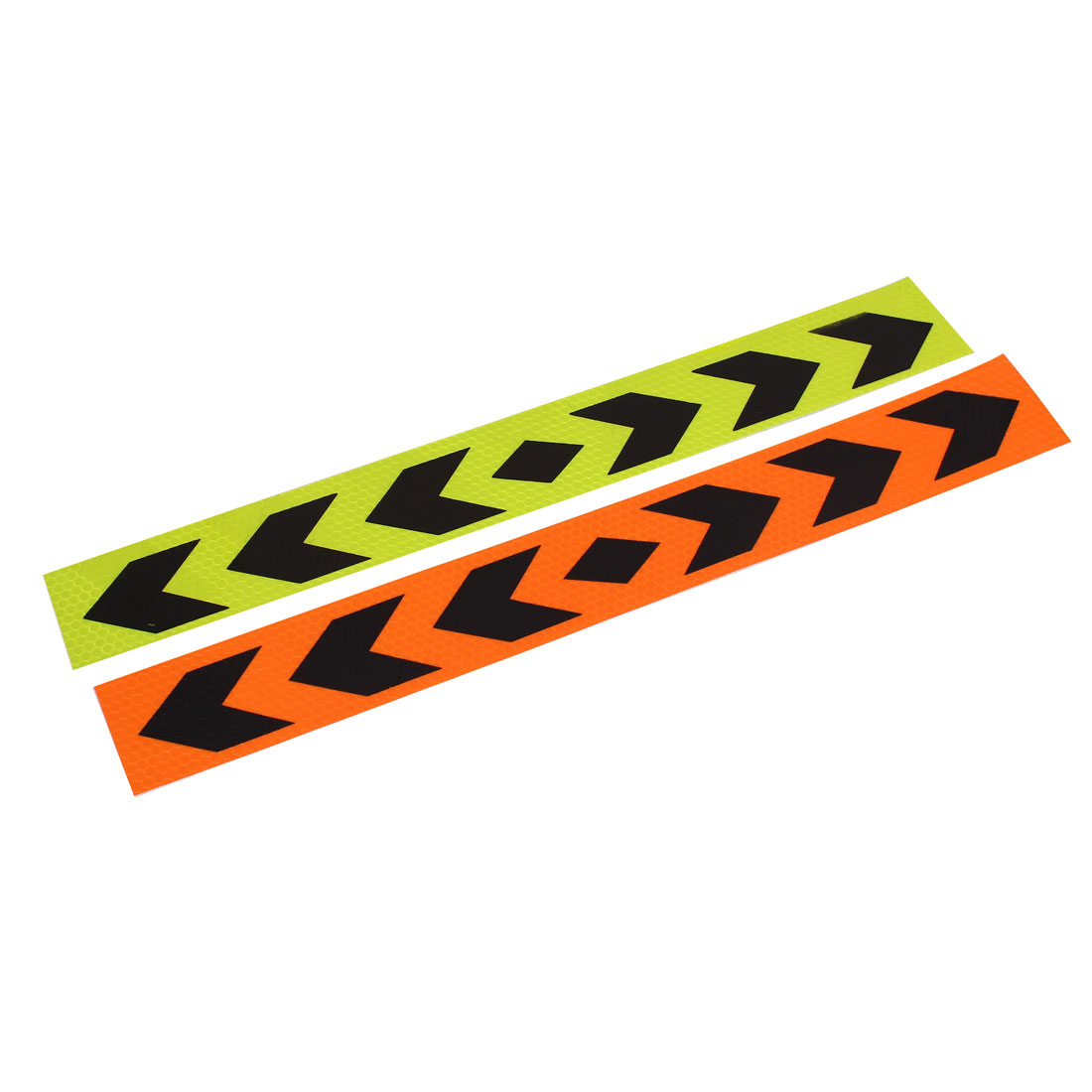 2pcs 40cm x 5cm Arrows Pattern Self Adhesive Car Truck Reflective Warning Sign Stickers Adorn Yellow Black Orange