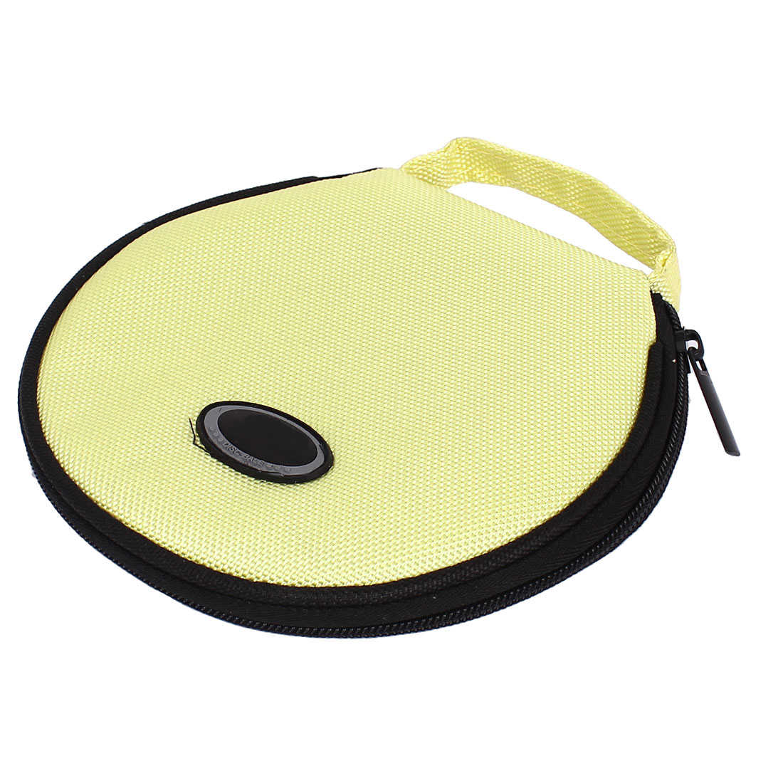 Zipper Closure Round CD Discs Holder Bag Storage Carry Case Cover Wallet Light Yellow