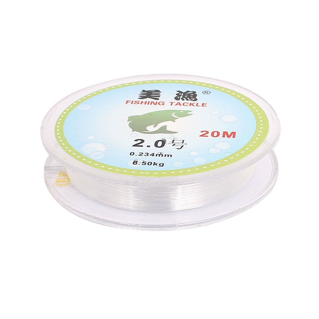 20M 2# Clear 0.234mm Dia 6.5Kg Capacity Fishing Spool Line String