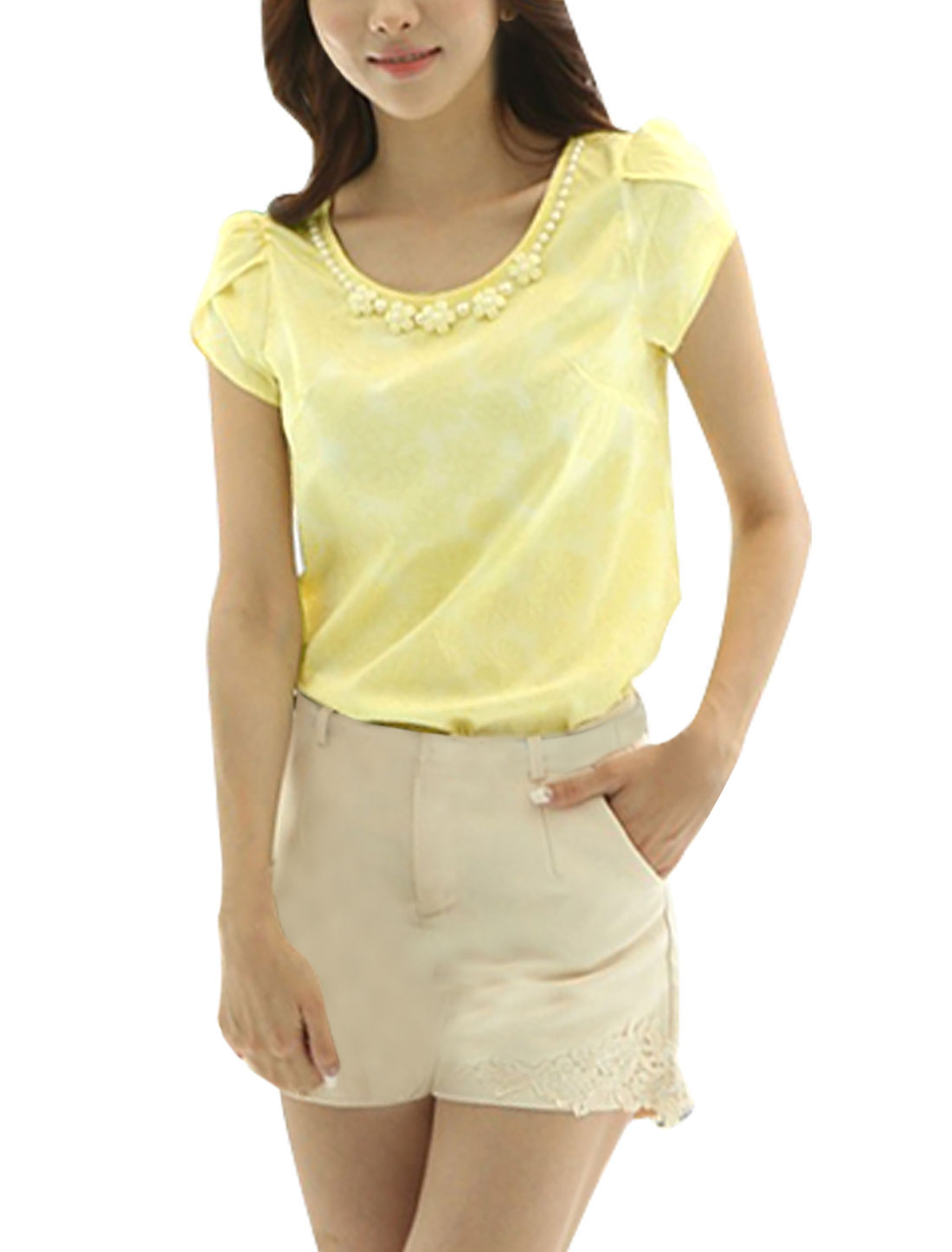 Ladies Petel Sleeve Round Neck Beaded Texture Casual Shirt Yellow XS