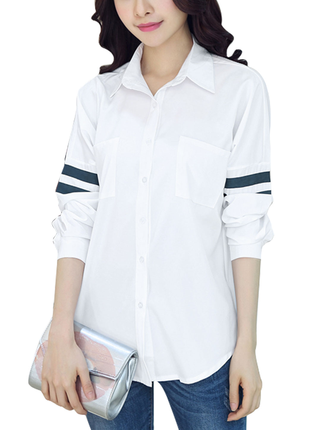 Ladies Long Sleeve Point Collar High-Low Hem Button Down Tunic Shirt White M