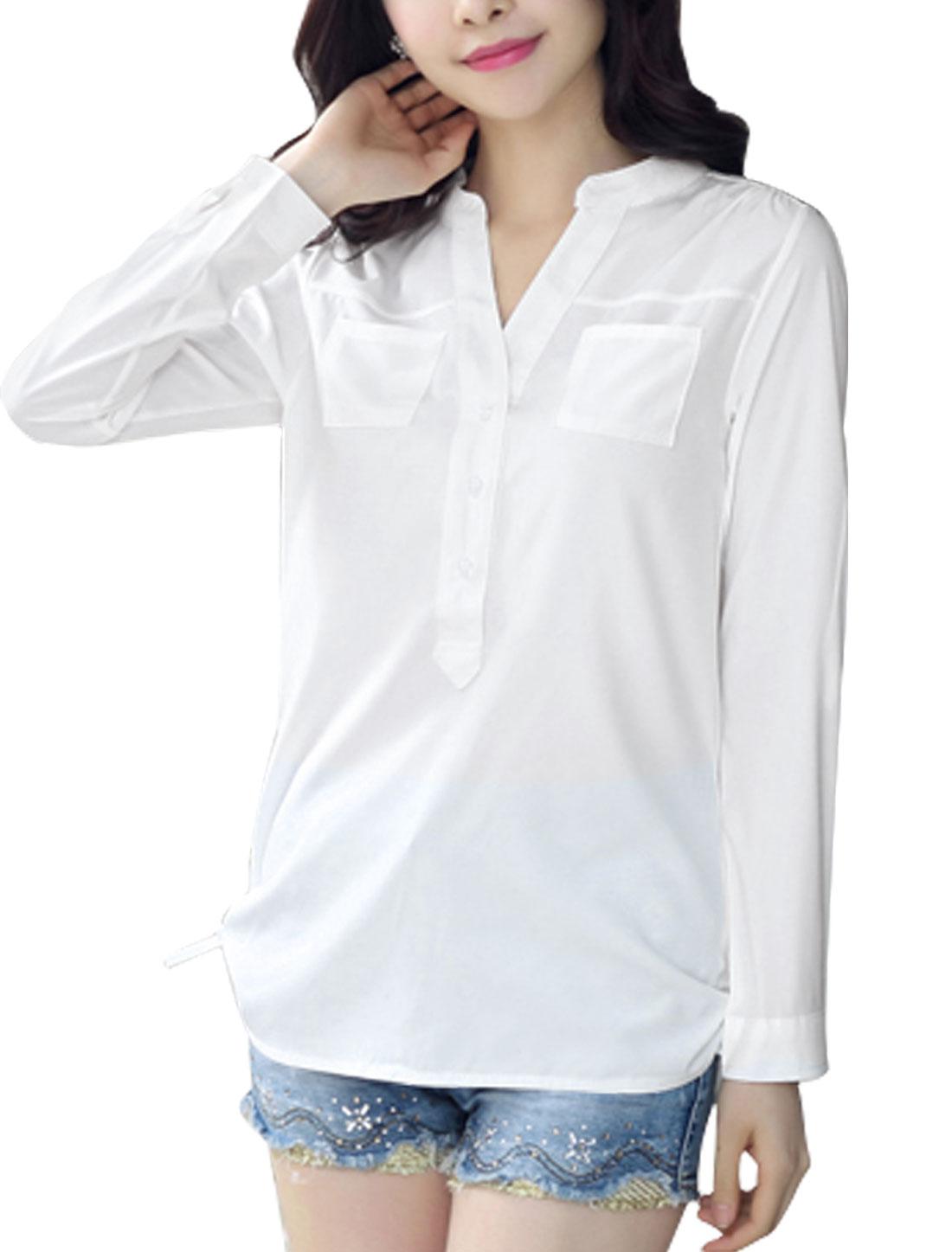 Women Long Sleeve Stand Collar Button Down Pockets Tunic Shirt White M