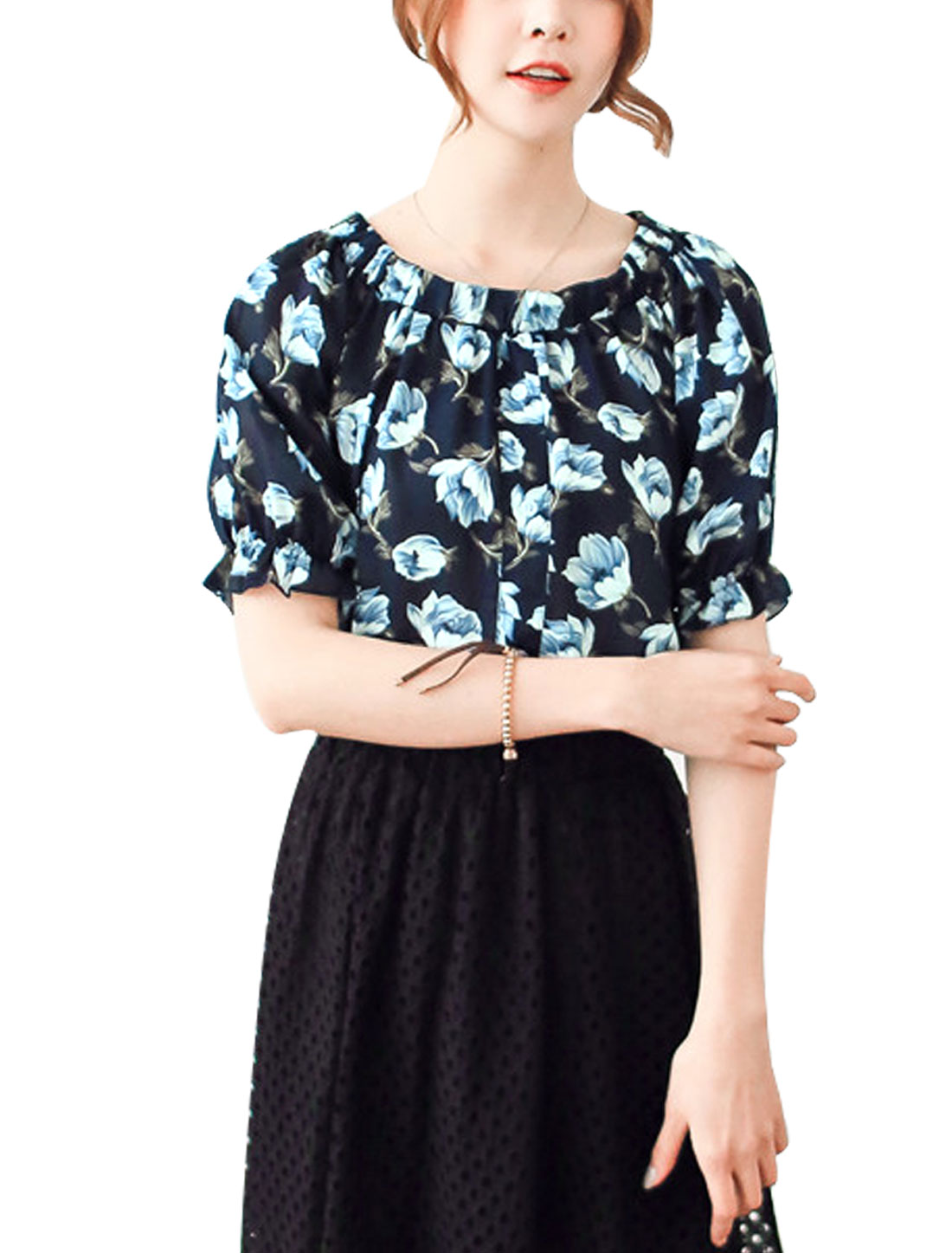 Ladies Floral Prints Off Shoulders Short Sleeves Chiffon Shirt Navy Blue XS