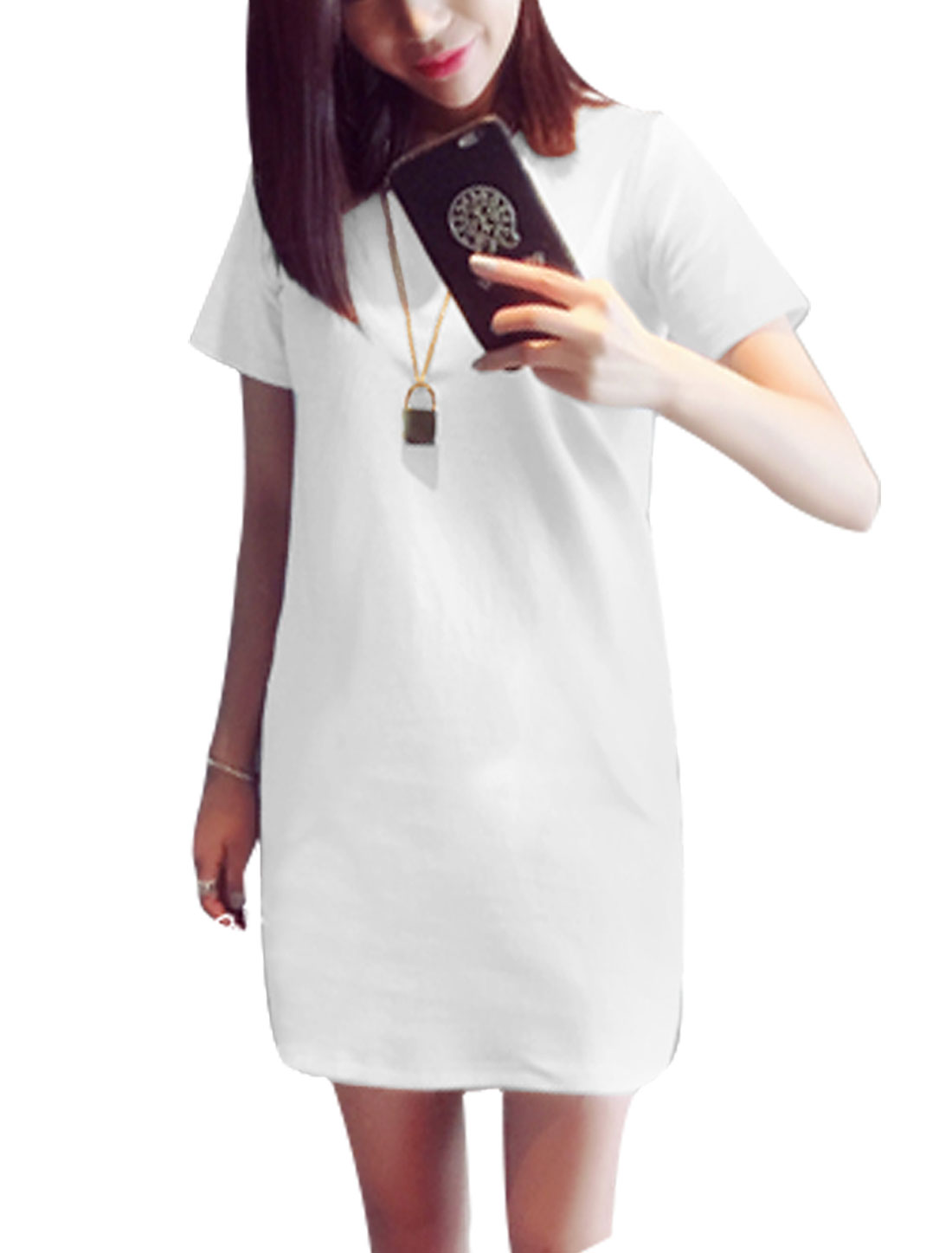 Ladies Round Neck Short Sleeves Casual Shift Dresses White S