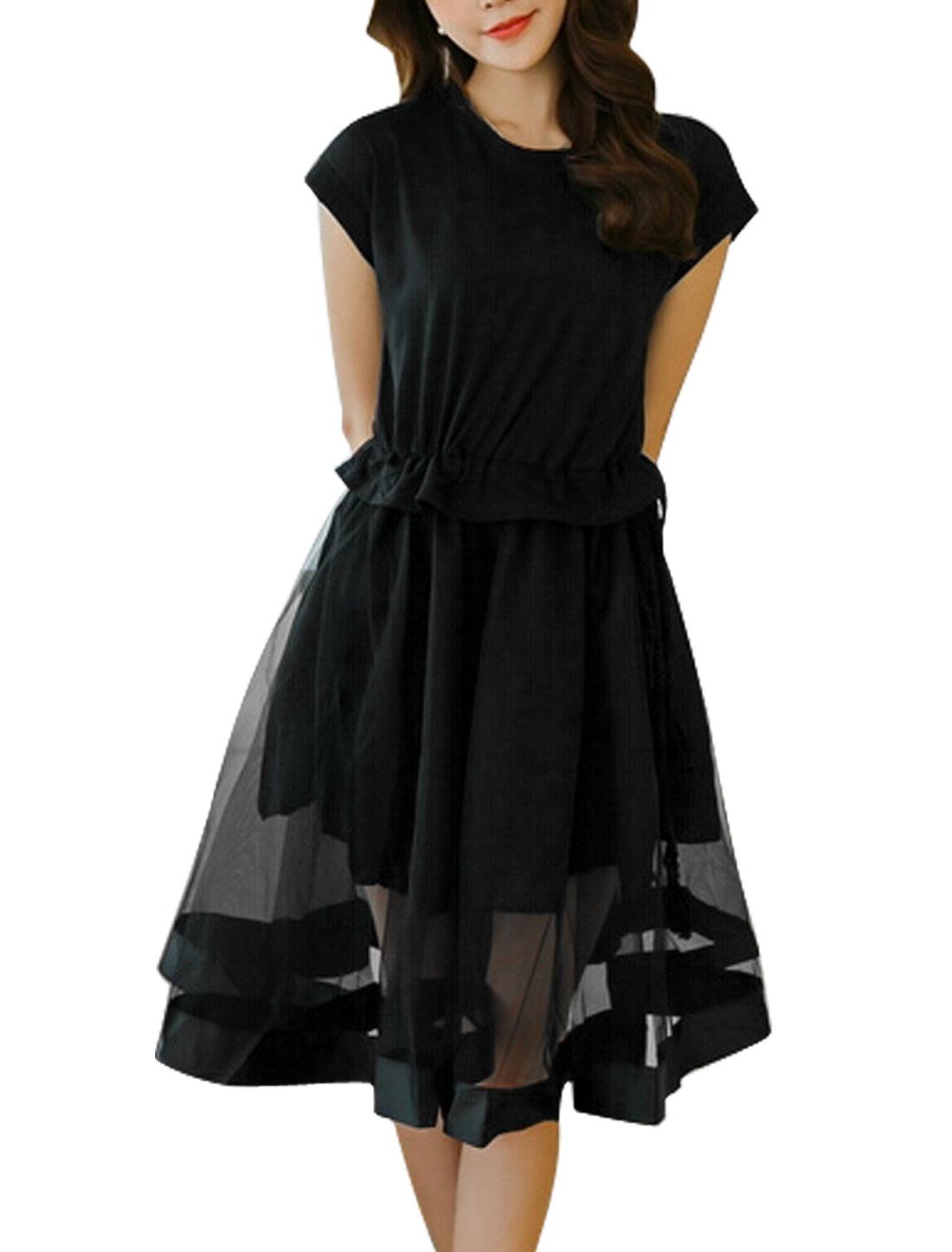 Women Round Neck Short Sleeve Panel Casual Skater Dresses Black S