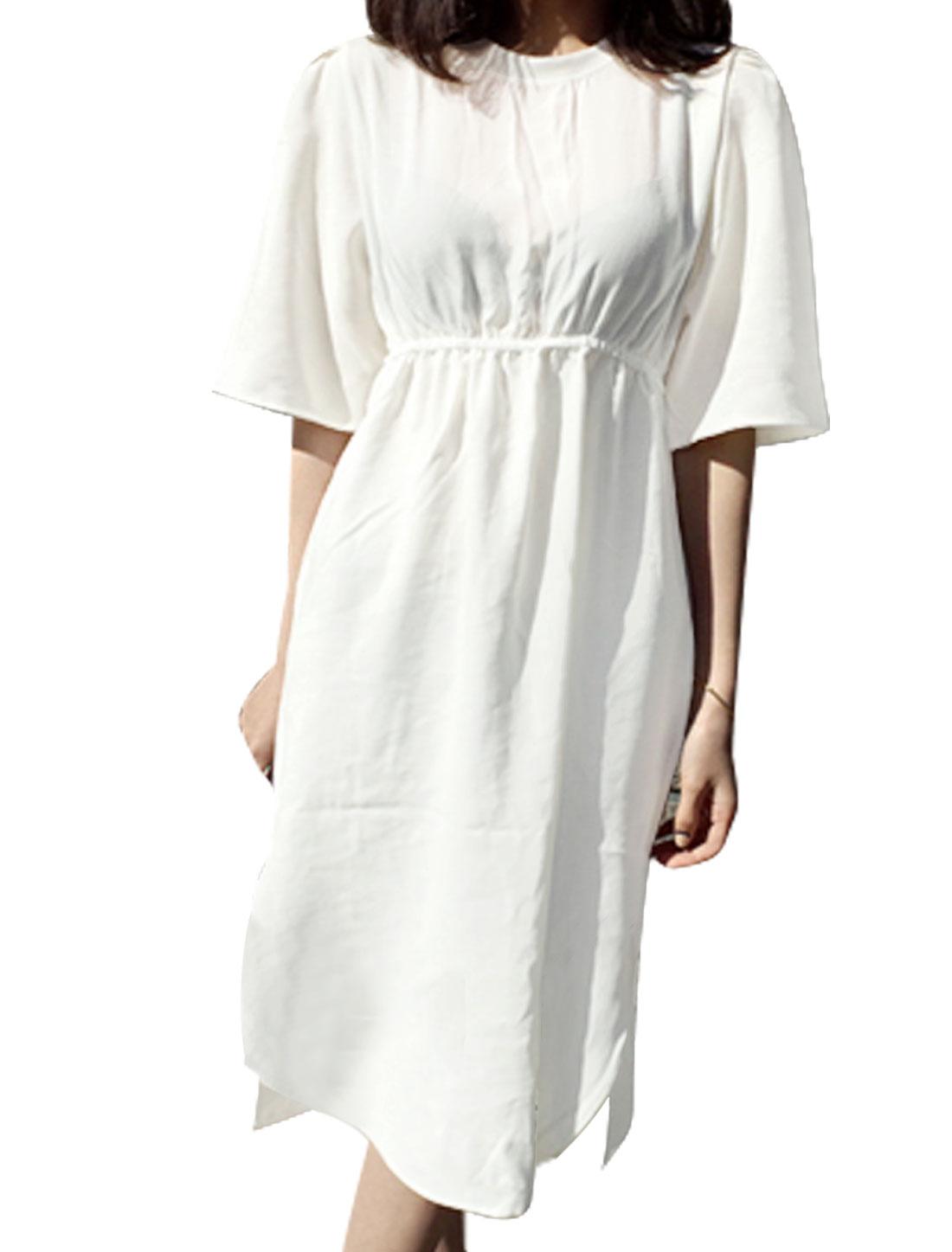 Women Elbow Sleeve Round Neck Elastic Waist High-Low Hem Casual Dress White XS