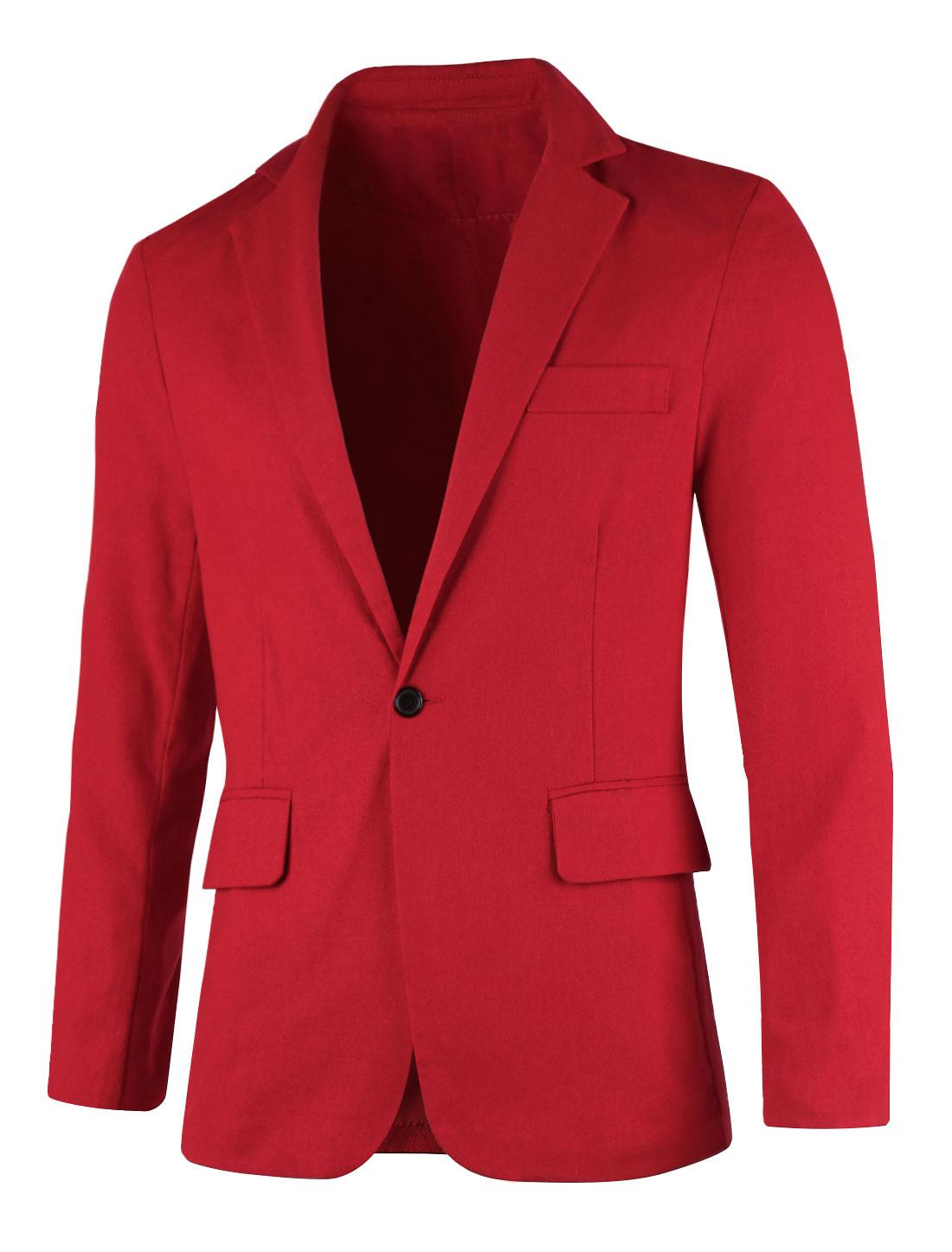 Men Notched Lapel Button Down Slim Fit Linen Jacket Burgundy S