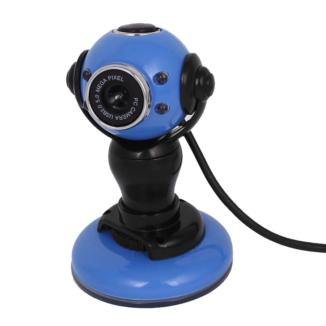 Rotatable 4 LED Suction Cup Base USB 2.0 Webcam PC Camera w Microphone