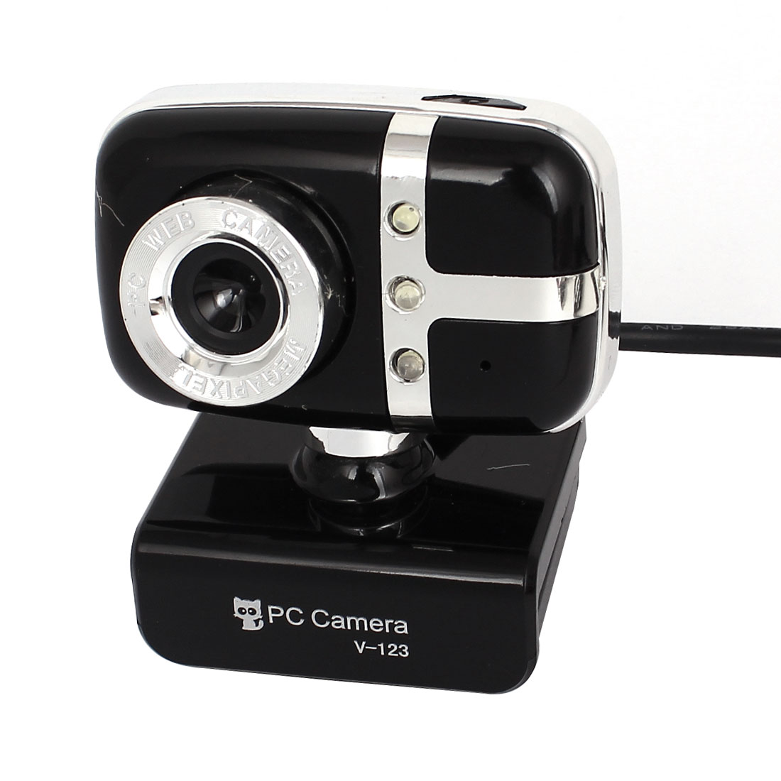 Plastic Shell 3 LED Rotatable Clip-on USB 2.0 Webcam PC Camera