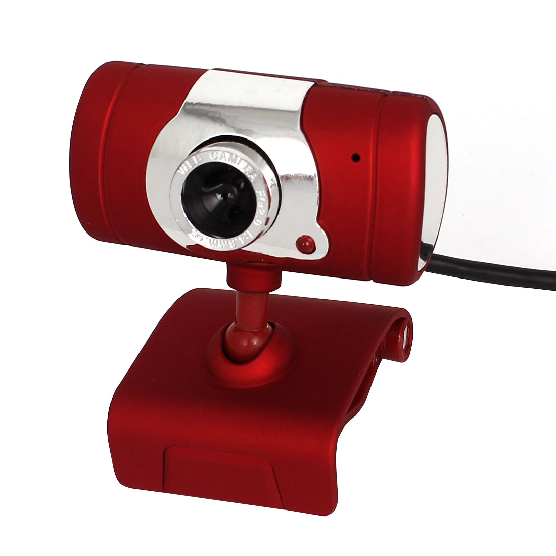 Rotatable Clip-on USB 2.0 Webcam PC Camera Red Silver Tone w Microphone