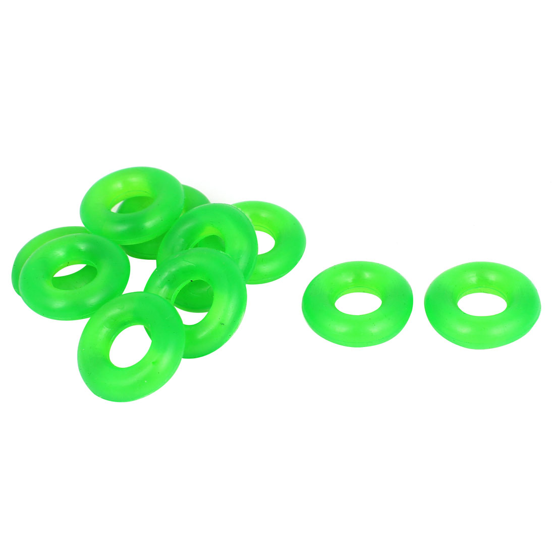10 Pcs 25mm x 10mm x 7.5mm Rubber O Rings Green for Wacky Worm Fishing