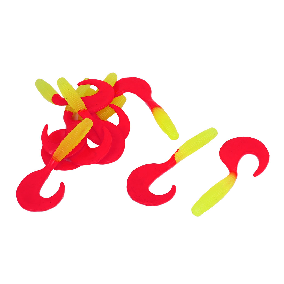 Soft Silicone Worm Shaped Fishing Bait Lure Tackle 10Pcs Red Yellow
